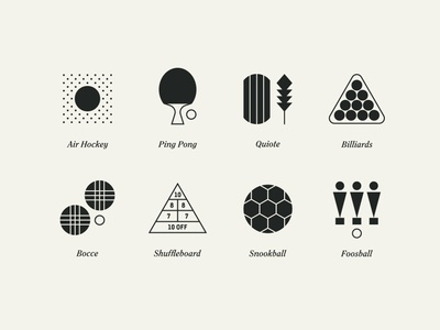 Fun & Games feather icons foosball soccer ball bocce billiards pool ping pong tennis hockey
