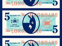 The Longboard pt. XIX stencil seal bill tree flag money palm donkey