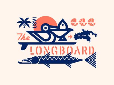 The Longboard pt. XXI stencil island surfboard surf pelican bird fish shrimp sun tree palm