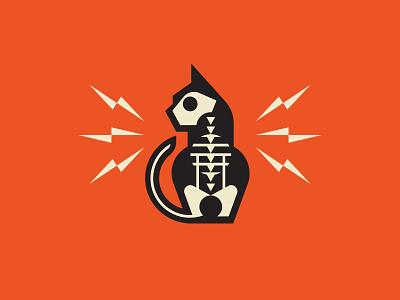 Zap bones skull skeleton bolt electricity lightning cat