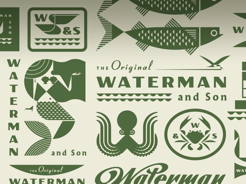 Waterman and Son script sea ocean shell mullet fish bird pelican crab octopus mermaid