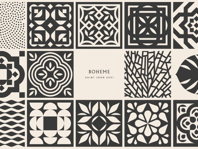 Boheme pt. II caribbean pattern island beach sand coral sea ocean water jungle leaf tile tropical john saint