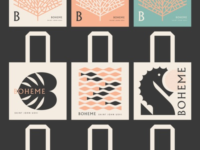 Boheme pt. IV resort pattern totebag tote beach restaurant tropical fish leaf seahorse water sea ocean caribbean coral