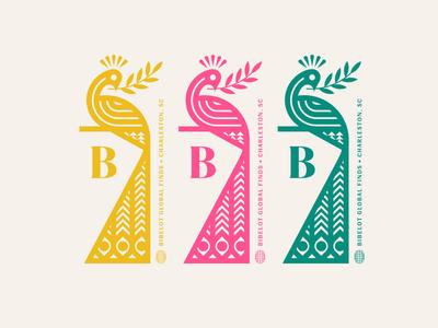Bibelot pt. II charleston planet earth global globe pattern branch olive peace eye tail feather bird peacock
