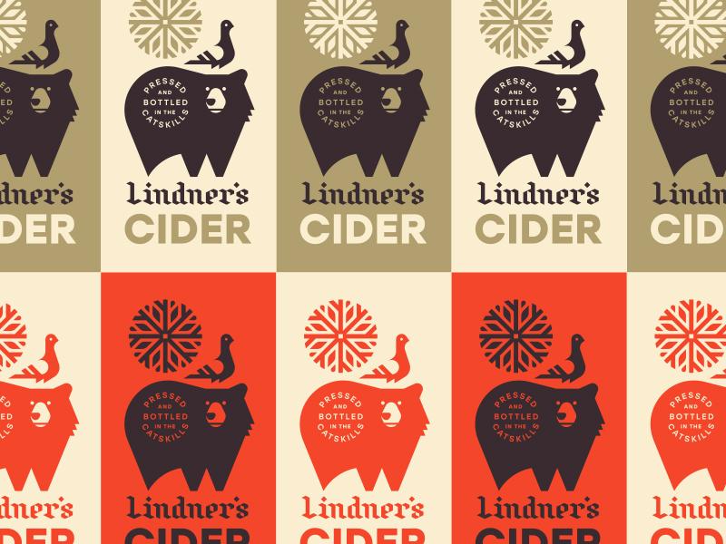 Lindner's Cider mountains seal burst leaves beer can york new cider snowflake bird pigeon bear