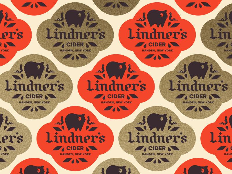 Lindner's Cider pt. III apple york new drip leaves seal badge label bird pigeon bear