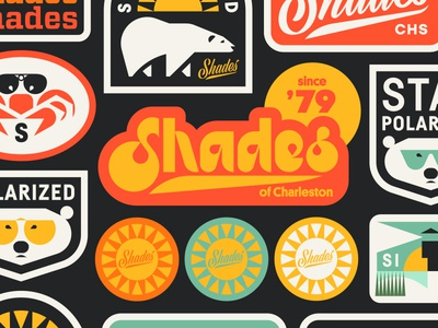 Shades pt. III sun shield badge sticker patch crab lighthouse typography type script glasses sunglasses bear polar