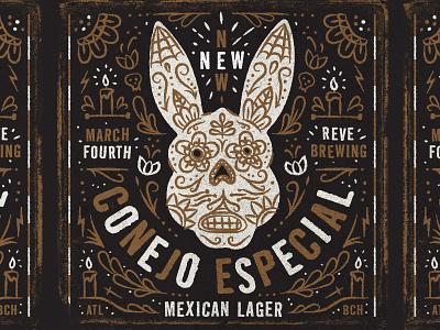 Illustration special rabbit conejo especial mexican lager craft beer reve brewing company