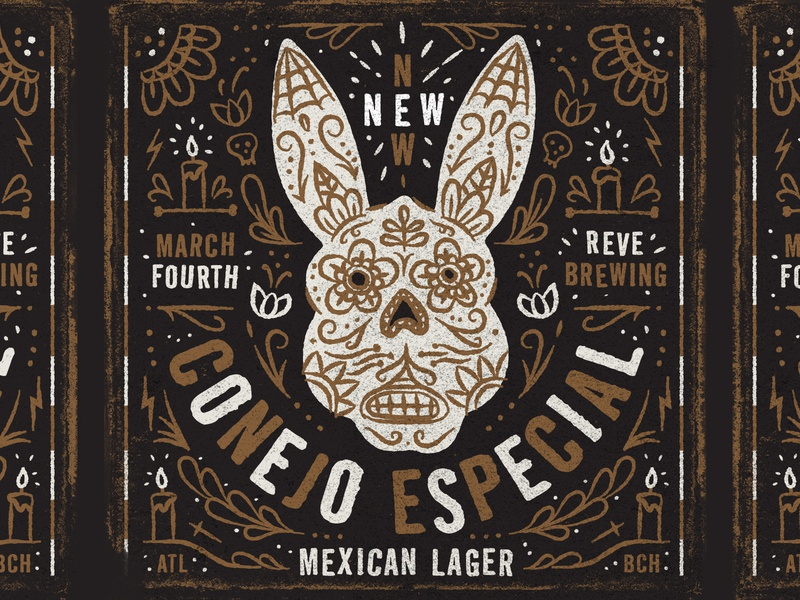 Illustration special rabbit conejo especial mexican lager craft beer reve brewing company