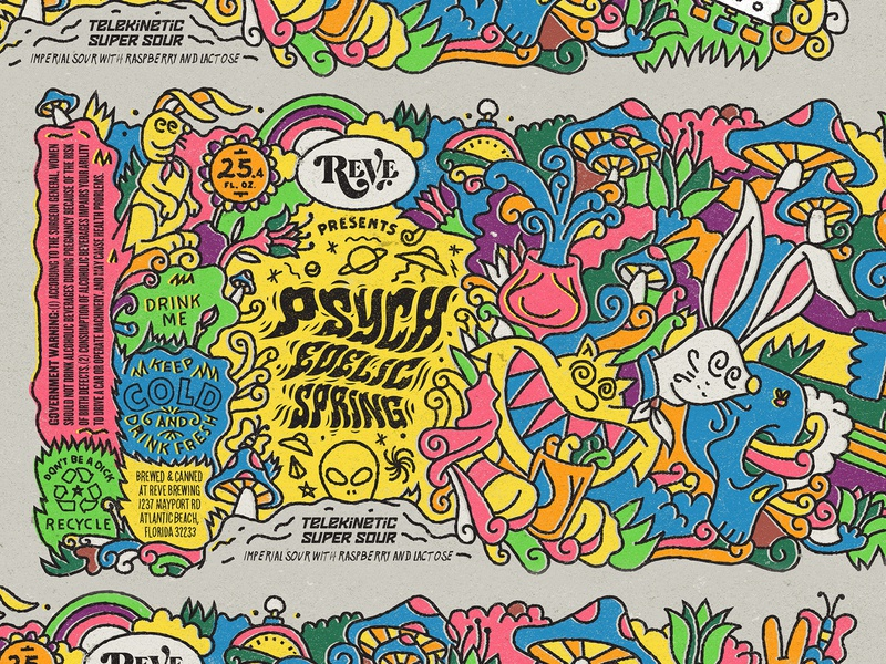 Beer Label label psychedelic spring reve brewing