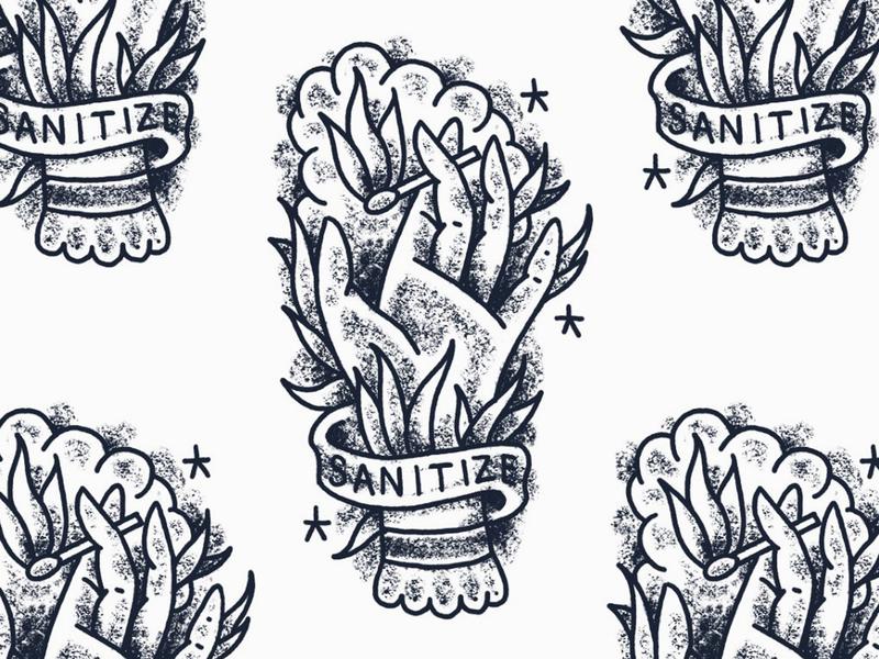 Sketch II fire sanitizer tattoo hand sketch