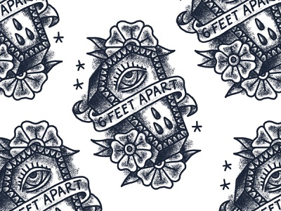 Sketch III 6 feet apart tattoo coffin sketch