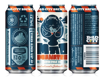 Mad Manatee Can bold city brewery packaging cans craft beer mad manatee