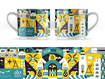 Illustration coffee city of jax beach sea turtles clean dark flat