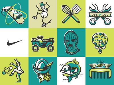 illustration I illustration app badges skateboarding nike sb