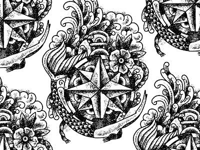 Illustration procreate tattoo compass mermaid illustration
