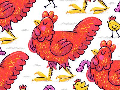 Illustration chicken grain shader procreate illustration