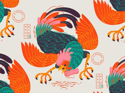 Illustration restaurant hawkers rooster illustration