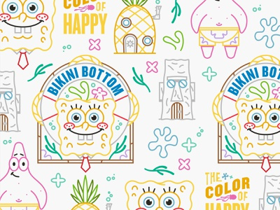 Illustration assets mono line bikini bottom patrick nickelodeon spongebob illustration