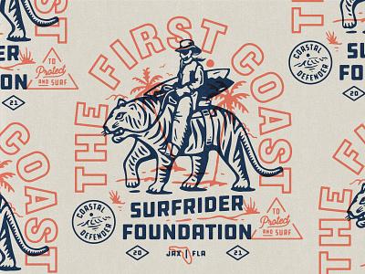 illustration cowboy tiger illustration first coast surfrider foundation