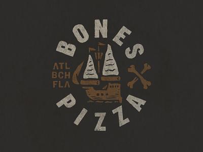 Branding badge type branding pirate ship pizza
