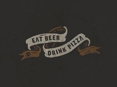 Branding beer branding illustrtaion banner eat beer drink pizza bones pizza