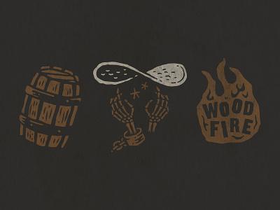 Branding fire skeleton barrel illustration branding skull pirate pizza bones pizza