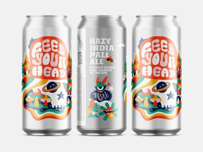 Beer illustration label packaging beer feed your head reve brewing company