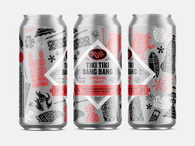Beer illustration can label beer tiki tiki bang bang tiki weeki reve brewing reve