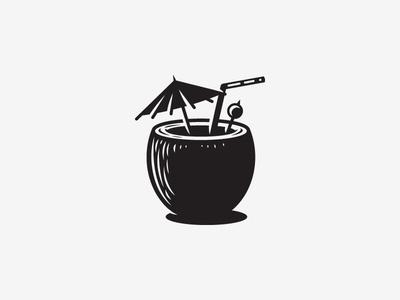Icon icon coconut drink island life wip bw