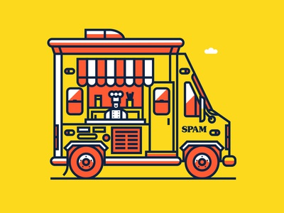 SpamTruck halftone def illustration spamerican tour food truck spam brand spam