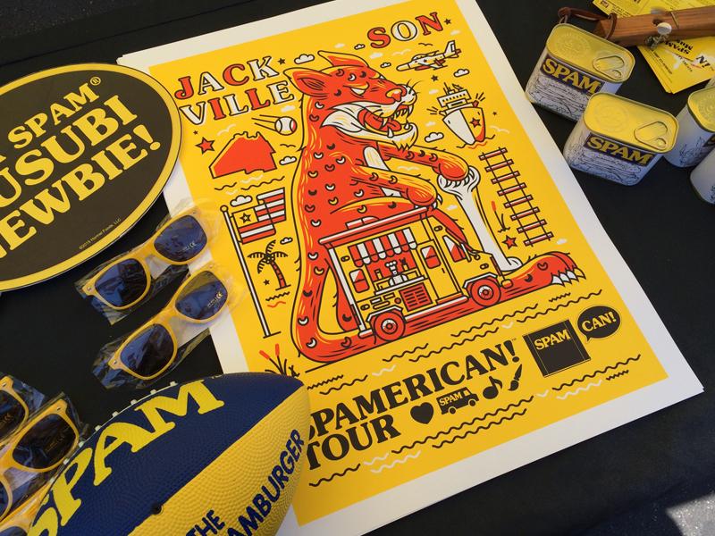 Spam Poster halftone def illustration spamerican tour food truck spam brand spam