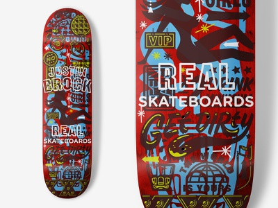 Real Skateboards - Justin Brock overlay color icons illustraion skateboarding deck real skateboards