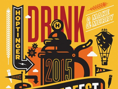 Oktoberfest poster illustration design oktoberfest hoptinger beer