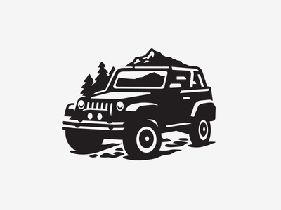 Illustration mountian outdoors jeep icon illustration