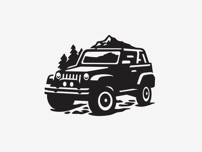 Illustration mountian outdoors jeep icon illustration