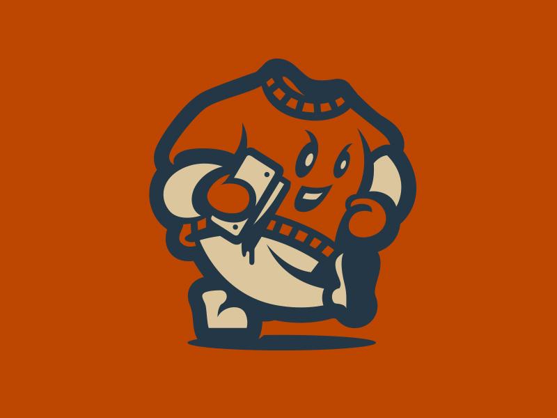 Mascot squeegee screen printing tee shirt mascot