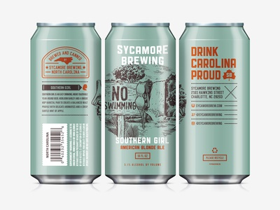Beer Can north carolina art direction southern girl label design can sycamore brewing