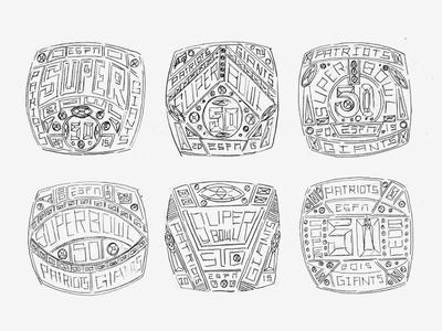 Sketches superbowl ring ring super bowl espn process sketches