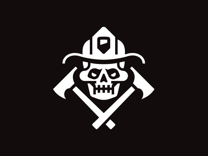 Skull fireman illustration patch kendrickkidd