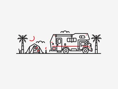 Illustration V tent camper letterpress jacksonville beach monoline illustration
