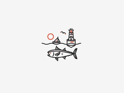 Illustration IX tuna letterpress jacksonville beach monoline illustration
