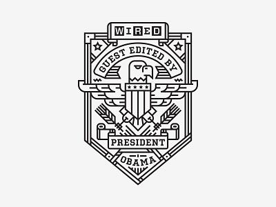 Badge president obama wired magazine monoline badge editorial illustration