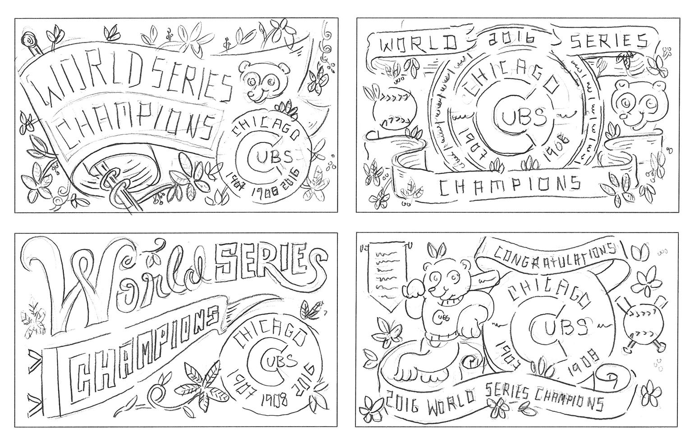 Rightwaysigns sketches illustration chicago cubs worldseries 2016 kendrickkidd