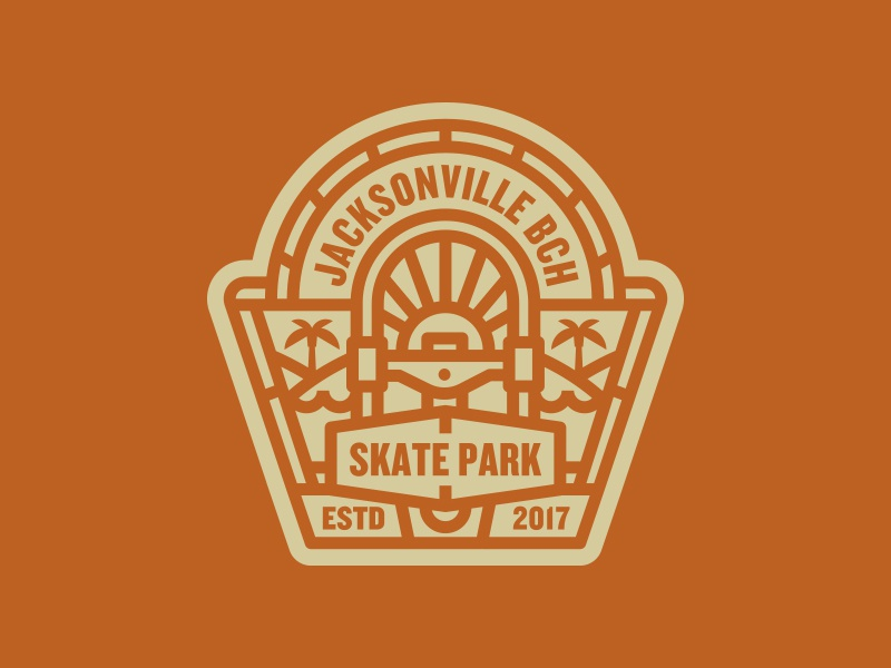 Badge skateboarding skate park illustration logo badge