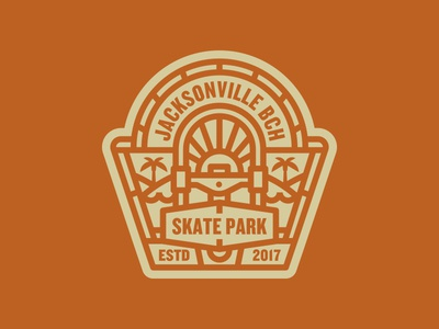 Badge skateboarding skate park illustration logo badge