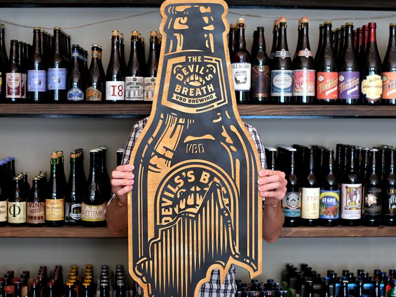 illustration wood laser engraving bottle beer violent by design illustration
