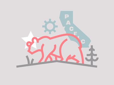 illustration pacific west coast bear california type illustration