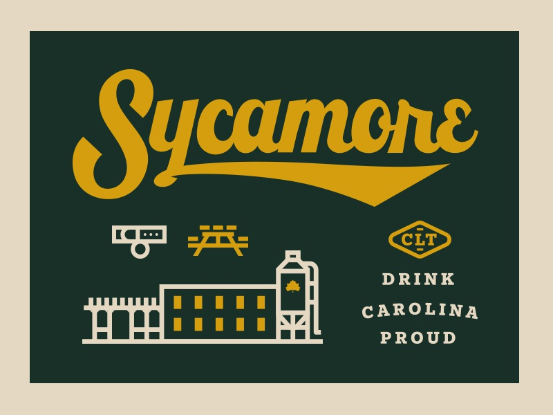 Branding lettering packaging brewery beer north carolina sycamore brewing