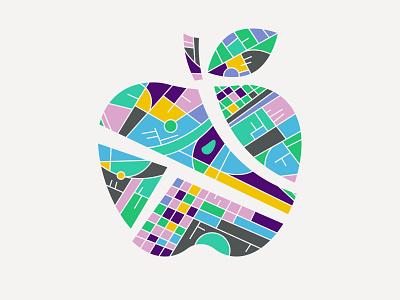 Illustration II illustration explore map apple color